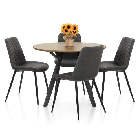 Sussex Dining Set Oak & Charcoal