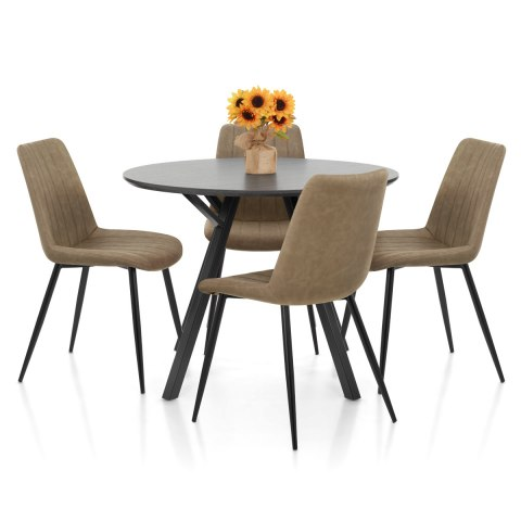 Sussex Dining Set Grey Wood & Brown