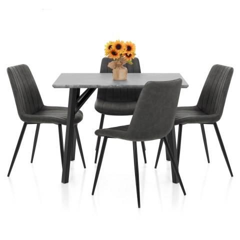 Warwick Dining Set Concrete & Charcoal