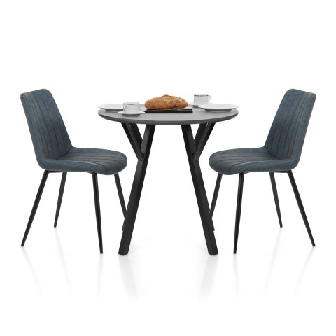 Wessex Dining Set Grey Wood & Blue