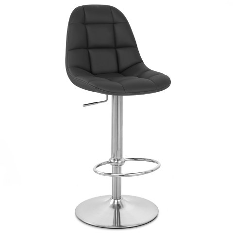 Rochelle Brushed Steel Stool Black