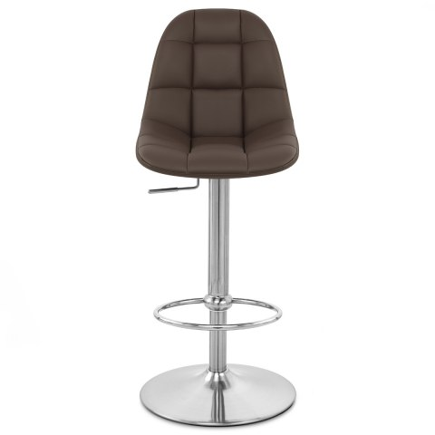 Rochelle Brushed Steel Stool Brown