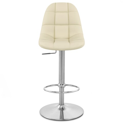 Rochelle Brushed Steel Stool Cream