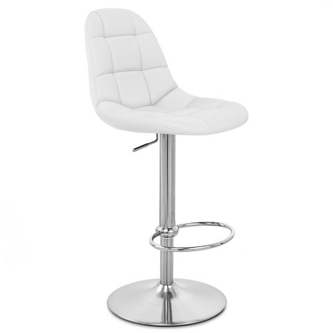 Rochelle Brushed Steel Stool White