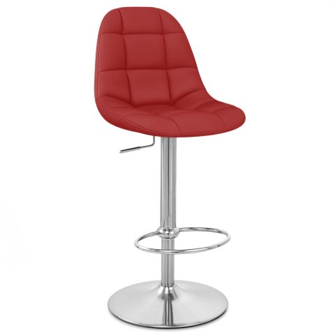 Rochelle Brushed Steel Stool Red