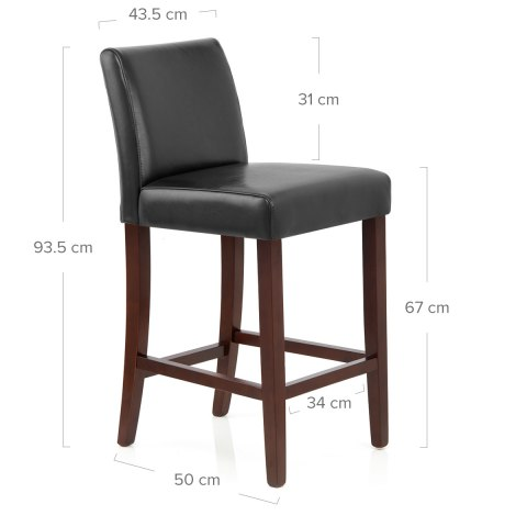 Stratos Walnut Stool Black Leather