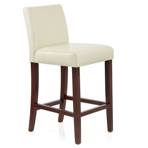 Stratos Walnut Stool Cream Leather