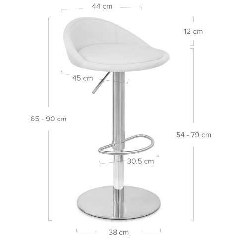 Ava Brushed Bar Stool White