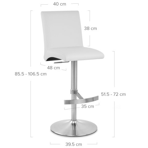 Deluxe Brushed High Back Stool White