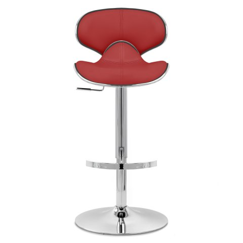 Deluxe Duo Real Leather Stool Red