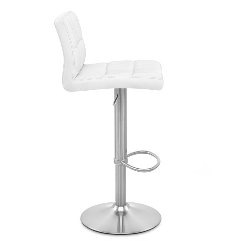 Starz Brushed Steel Stool White
