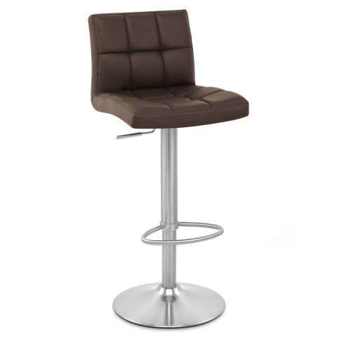 Starz Brushed Real Leather Stool Brown