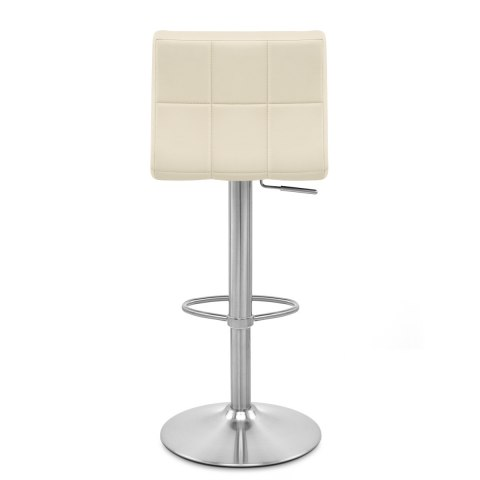 Starz Brushed Real Leather Stool Cream