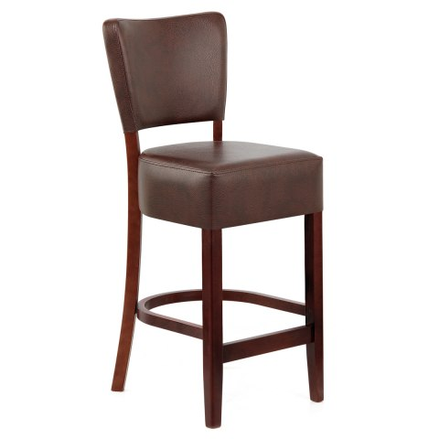 Ramsay Walnut Stool Brown Leather