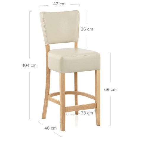 Ramsay Oak Stool Cream Leather