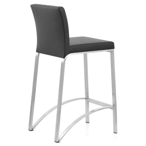 Leah Brushed Real Leather Stool Black