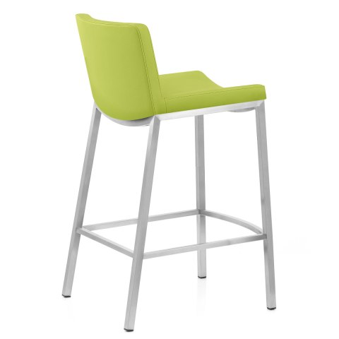 Capone Brushed Steel Stool Green