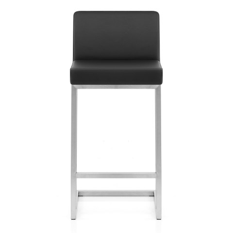 Robin Brushed Steel Stool Black
