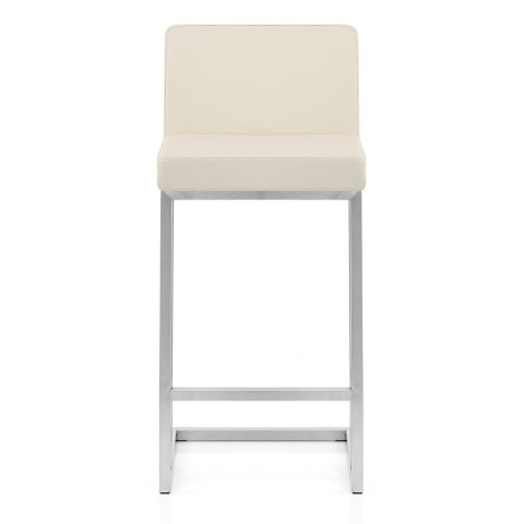 Robin Brushed Steel Stool Cream