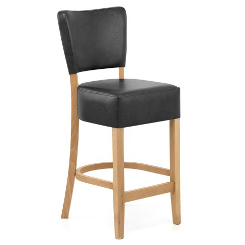 Ramsay Oak Stool Black Leather