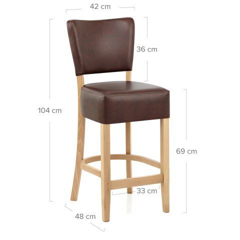 Ramsay Oak Stool Brown Leather