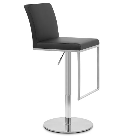 Cadiz Brushed Steel Stool Black