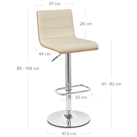 Riviera Walnut Bar Stool Cream