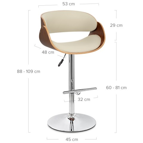 Becky Walnut Bar Stool Cream