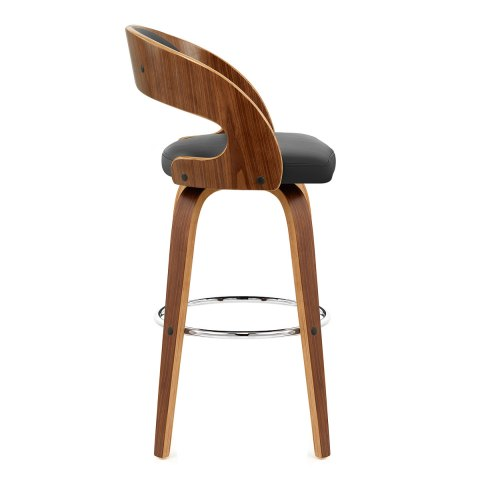 Alicia Walnut Bar Stool Black