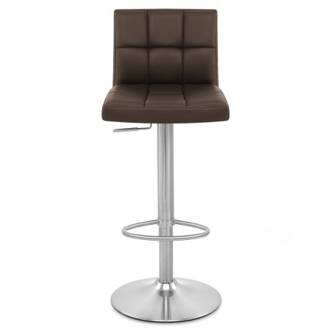 Starz Brushed Steel Stool Brown