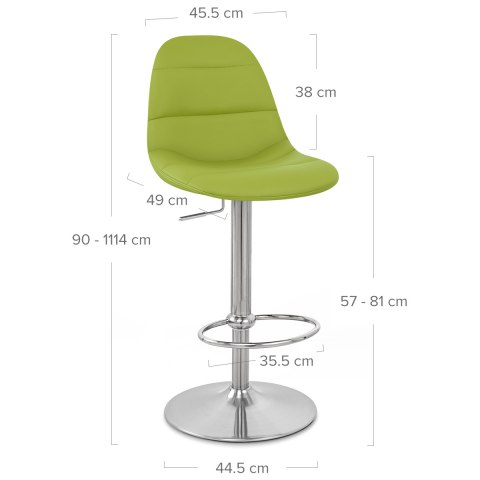 Ferrero Brushed Steel Bar Stool Green