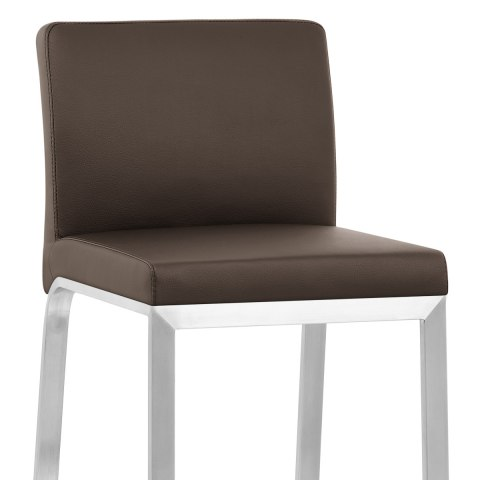 Leah Brushed Real Leather Stool Brown