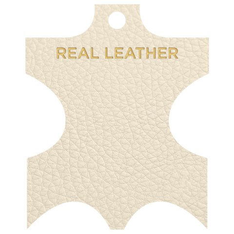 Leah Brushed Real Leather Stool Cream