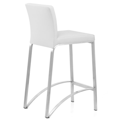Leah Brushed Real Leather Stool White