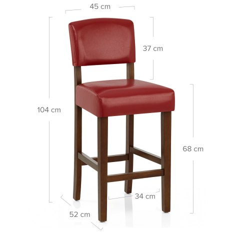 Sydney Walnut Bar Stool Red
