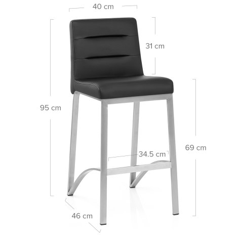 Stella Brushed Steel Stool Black