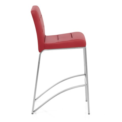 Stella Brushed Steel Stool Red