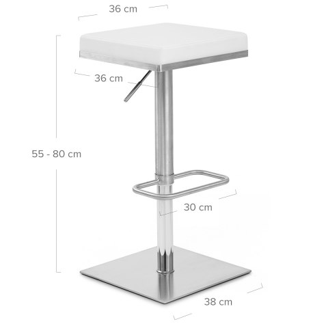 Addison Brushed Steel Stool White