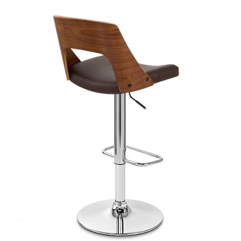 Carmen Leather Bar Stool Walnut & Brown
