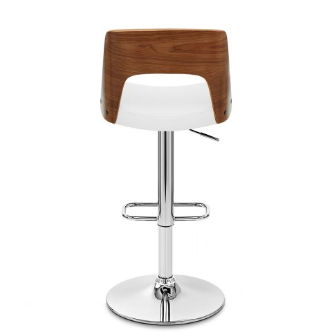Carmen Leather Bar Stool Walnut & White