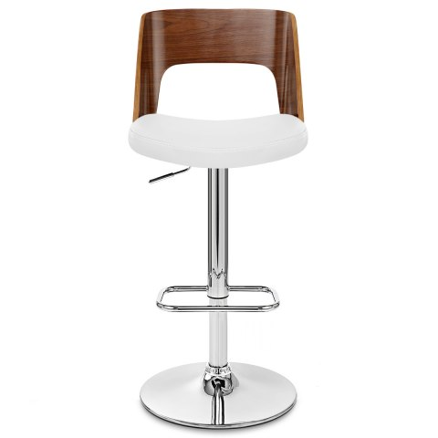 carmen leather bar stool walnut u0026 white - White Leather Bar Stools