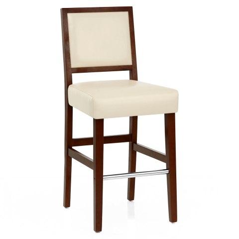 Outstanding Jasper Leather Bar Stool Walnut Cream Andrewgaddart Wooden Chair Designs For Living Room Andrewgaddartcom
