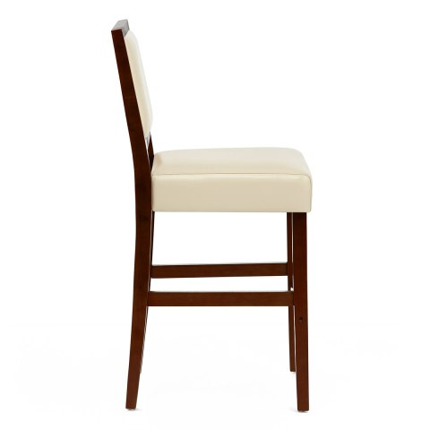 Groovy Jasper Leather Bar Stool Walnut Cream Andrewgaddart Wooden Chair Designs For Living Room Andrewgaddartcom