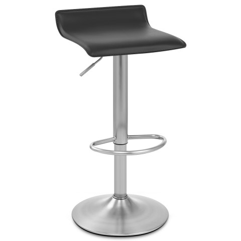 Mars Brushed Steel Bar Stool Black