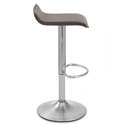 Mars Brushed Steel Bar Stool Brown