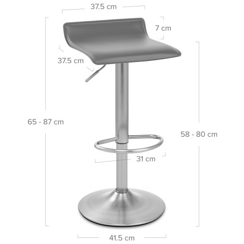 Mars Brushed Steel Bar Stool Grey
