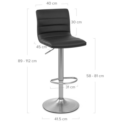 Linear Brushed Steel Bar Stool Black