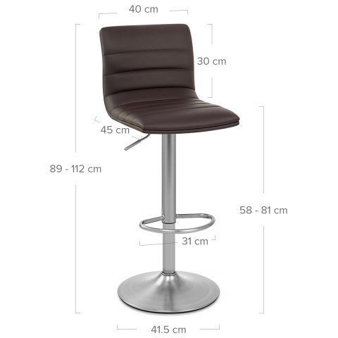 Linear Brushed Steel Bar Stool Brown