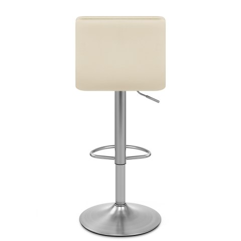 Linear Brushed Steel Bar Stool Cream