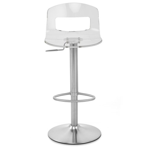 Stardust Brushed Steel Stool Clear